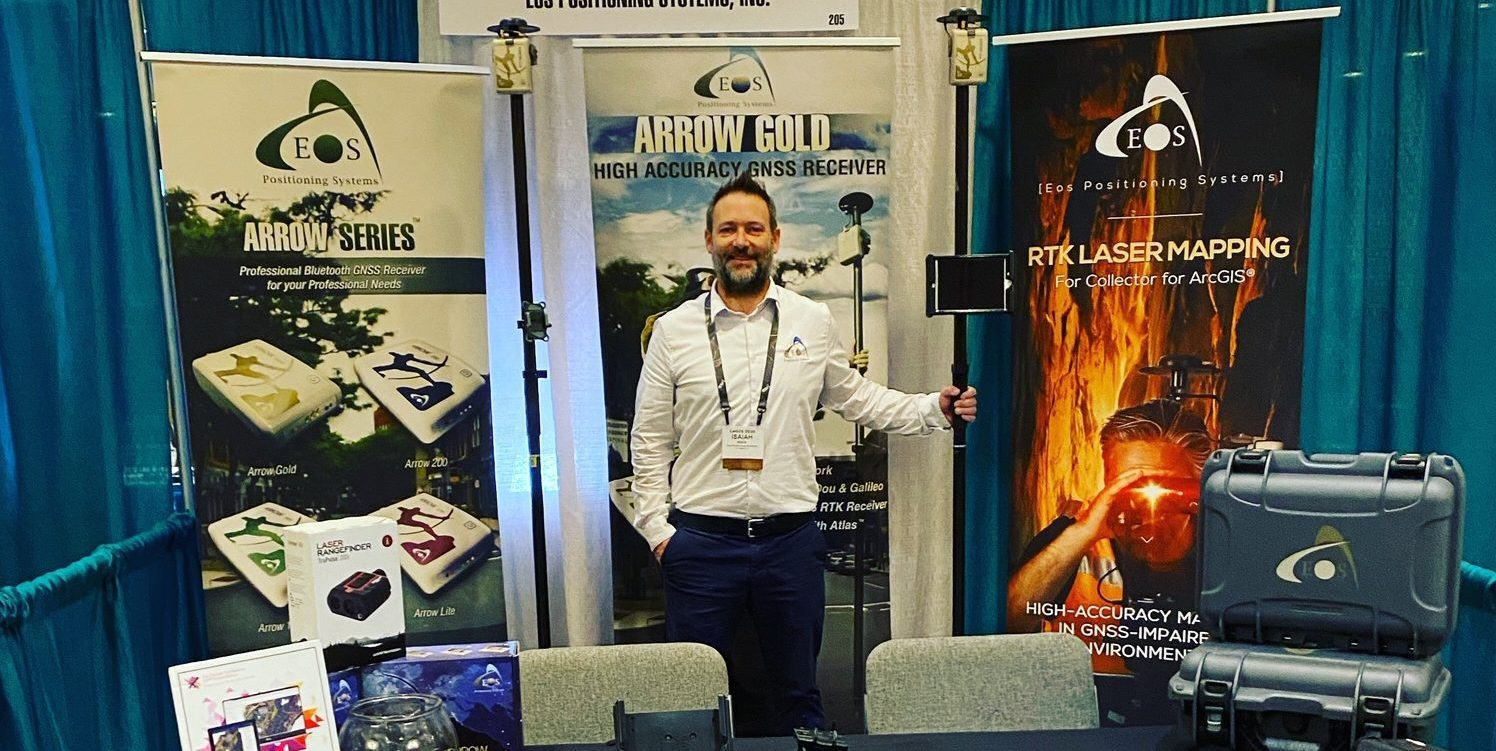 CalGIS Eos Long Beach Isaiah Mack, Arrow Gold, Eos Positioning Systems booth GPS GNSS ArcGIS Esri Apps mobile mapping accuracy bluetooth receiver