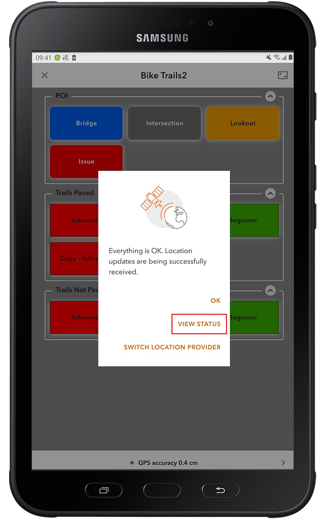 Android screenshot of TCPIP ArcGIS Apps