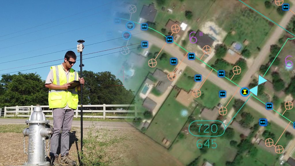 Ben Griffith of Texian Geospatial receives differential corrections from an Arrow Gold base station in real time, allowing him to capture the location of a fire hydrant valve within several centimeters of accuracy using ArcGIS Collector and the Eos Laser Mapping solution
