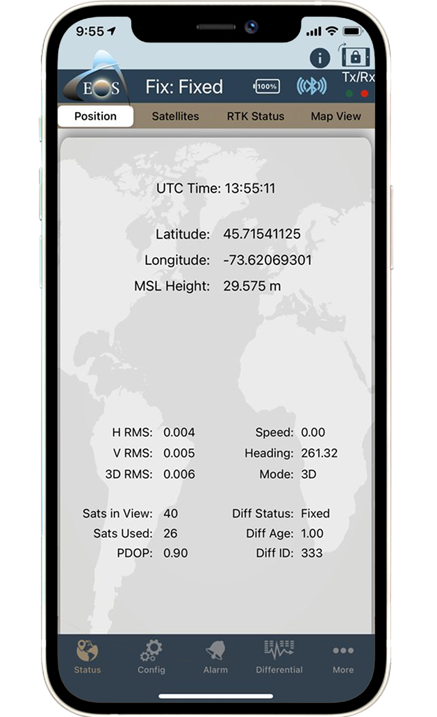Eos Tools Pro screenshot: GNSS position tab on iPhone, mobile GNSS location status
