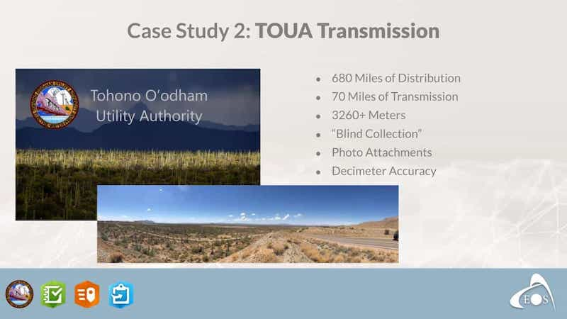 TOUA mapping case study Esri IMGIS Conference: Palmetto Engineering mapping high accuracy points in the desert electric utility mapping transportation poles T&D assets Zac Petix ArcGIS Collector