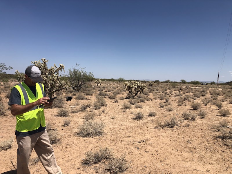 Palmetto Engineering mapping high accuracy points in the desert electric utility mapping transportation poles T&D assets Zac Petix ArcGIS Collector