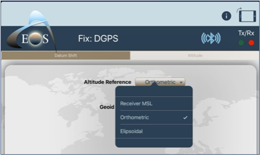 Eos Tools Pro screenshot orthometric height selected