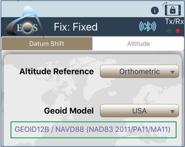 GEOID 12b model selected for USA in Eos Tools Pro screenshot