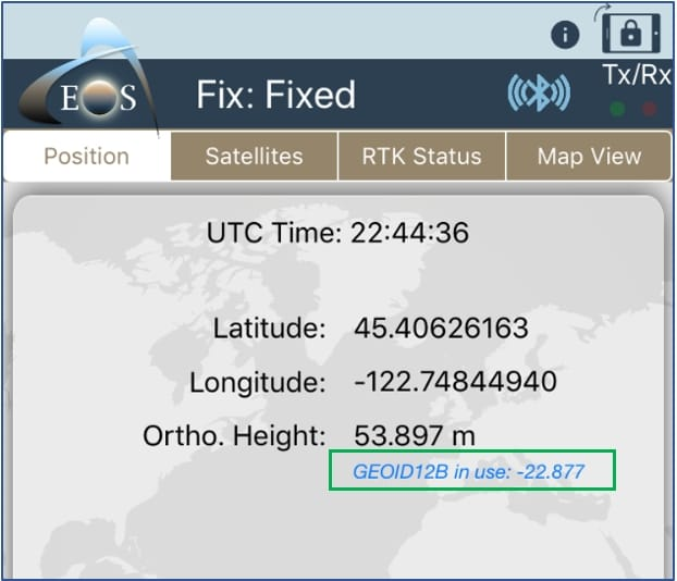 Eos Tools Pro screenshot GEOID model selected in green