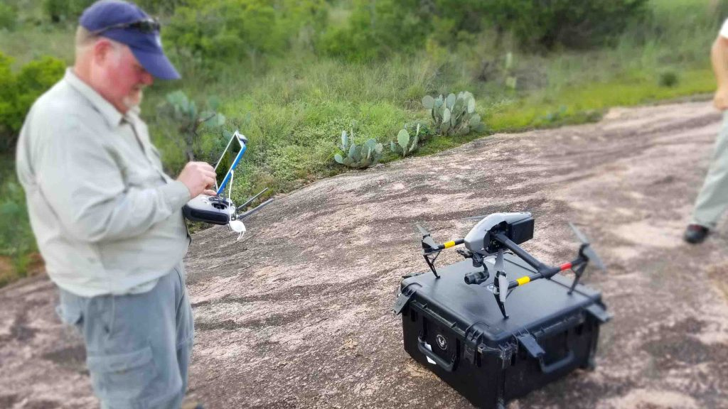 FIELD PHOTO - CASE STUDY - EOS TOOLS PRO - RAPTOR AERIAL SERVICES - ENCHANTED ROCK STATE NATURAL - drones, ipad; Michael Allison; Texas Drone Consultancy Uses Arrow Gold for Ground Control Points (GCP)