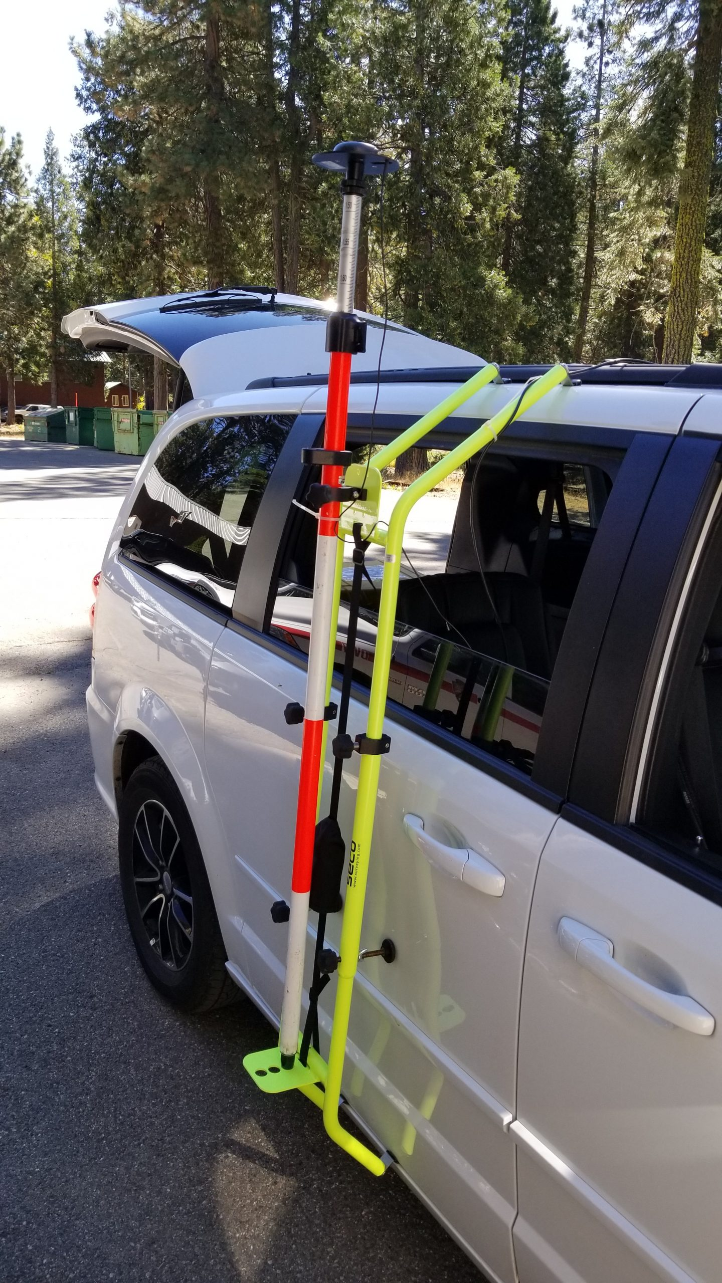 Arrow Gold GNSS antenna mounted to the side of a vehicle to map the road edges