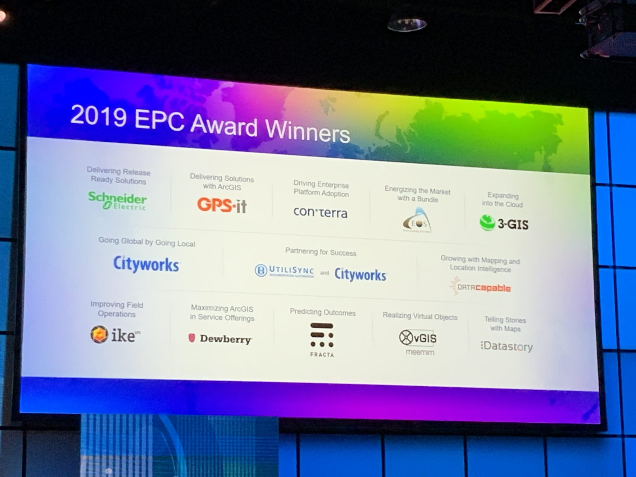 IMAGE – PRESS RELEASE – 2019 EPC AWARD – Eos Positioning Systems Esri Award Winner Partner Conference 2019-03-03 11.55.32