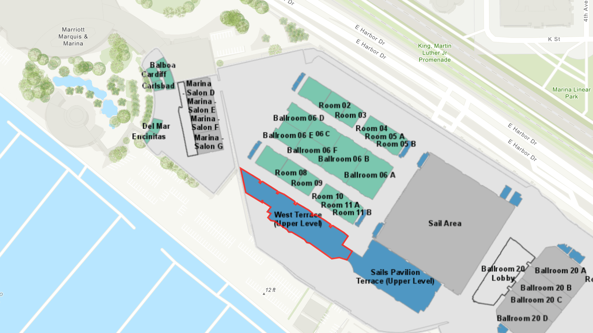 2019 Esri User Conference Socials We Recommend from Eos positioning Systems, a silver sponsor for the 2019 uc; shown here is a map of the SAN DIEGO CONVENTION CENTER WEST TERRACE