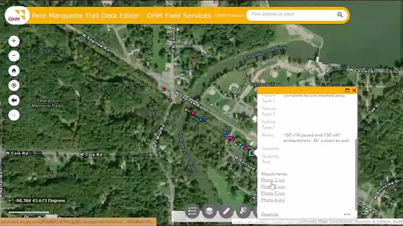 An ArcGIS Pro map shows points mapped along the Pere Marquette trail.