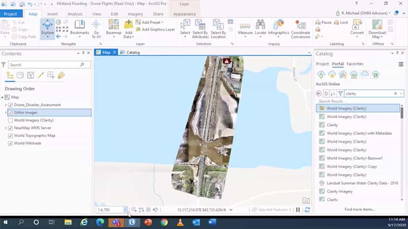 A full 3D surface on ArcGIS Pro that was being used to rehab the bridge.