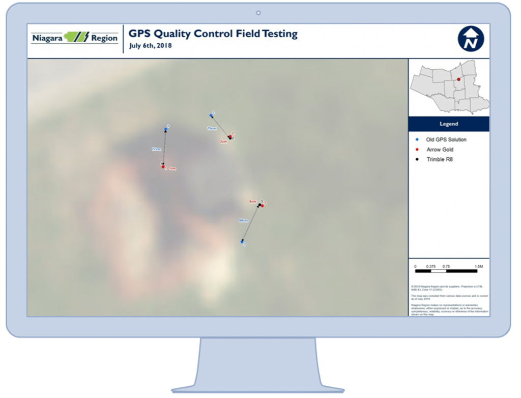 Niagara Region tested the accuracy of various GPS units before selecting the arrow gold instead of legacy Trimble handheld devices; shown here is their accuracy point tests on a map