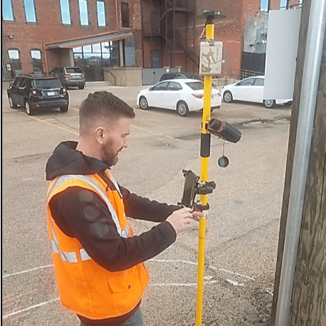 DENVER DDSI laser mapping for utility locates at telecommunications sites with Eos Positioning Systems RTK laser mapping solution, ESRI GIS, and laser technology inc TRUPULSE 200x rangefinder in Colorado