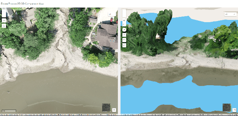 An ArcGIS Online app allows comparison of a 2D ortho and 3D mesh to identify erosion issues after the disaster.
