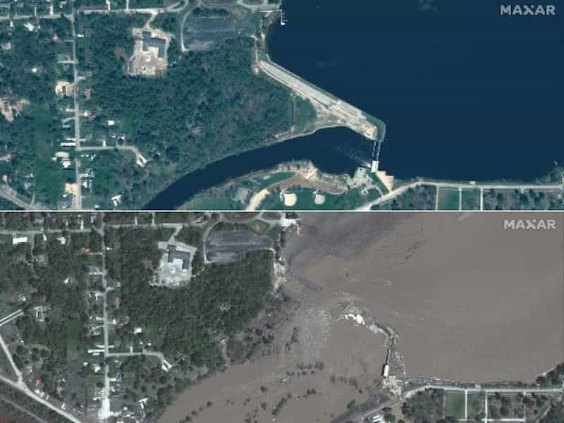 Aerial imagery shows the damage caused by the severe flooding.