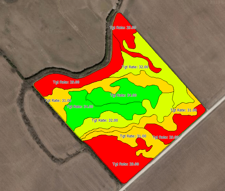 This graphic shows an example of a planting prescription, a special digitized map that tells equipment what rate of product to apply based on its location in the field. In the photo, it is visible that some zones will receive 34,000 seeds/acre, while other zones will only receive 29,000 seeds/acre.