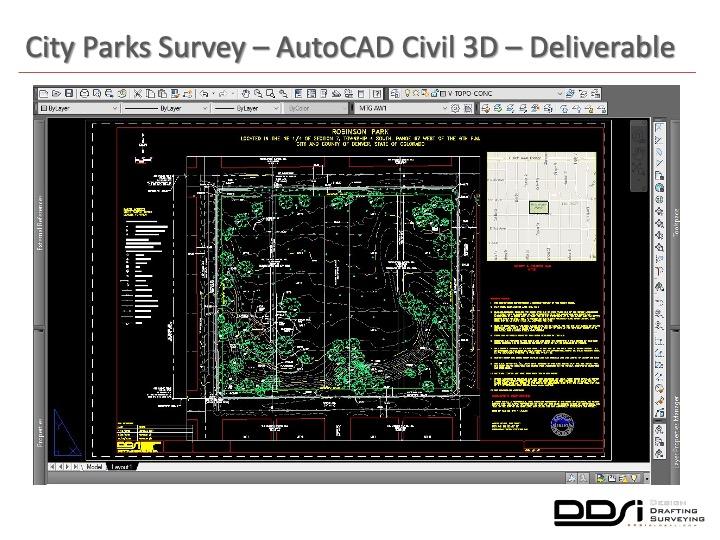 City parks survey AutoCAD Civil 3D deliverable - DDSI laser mapping