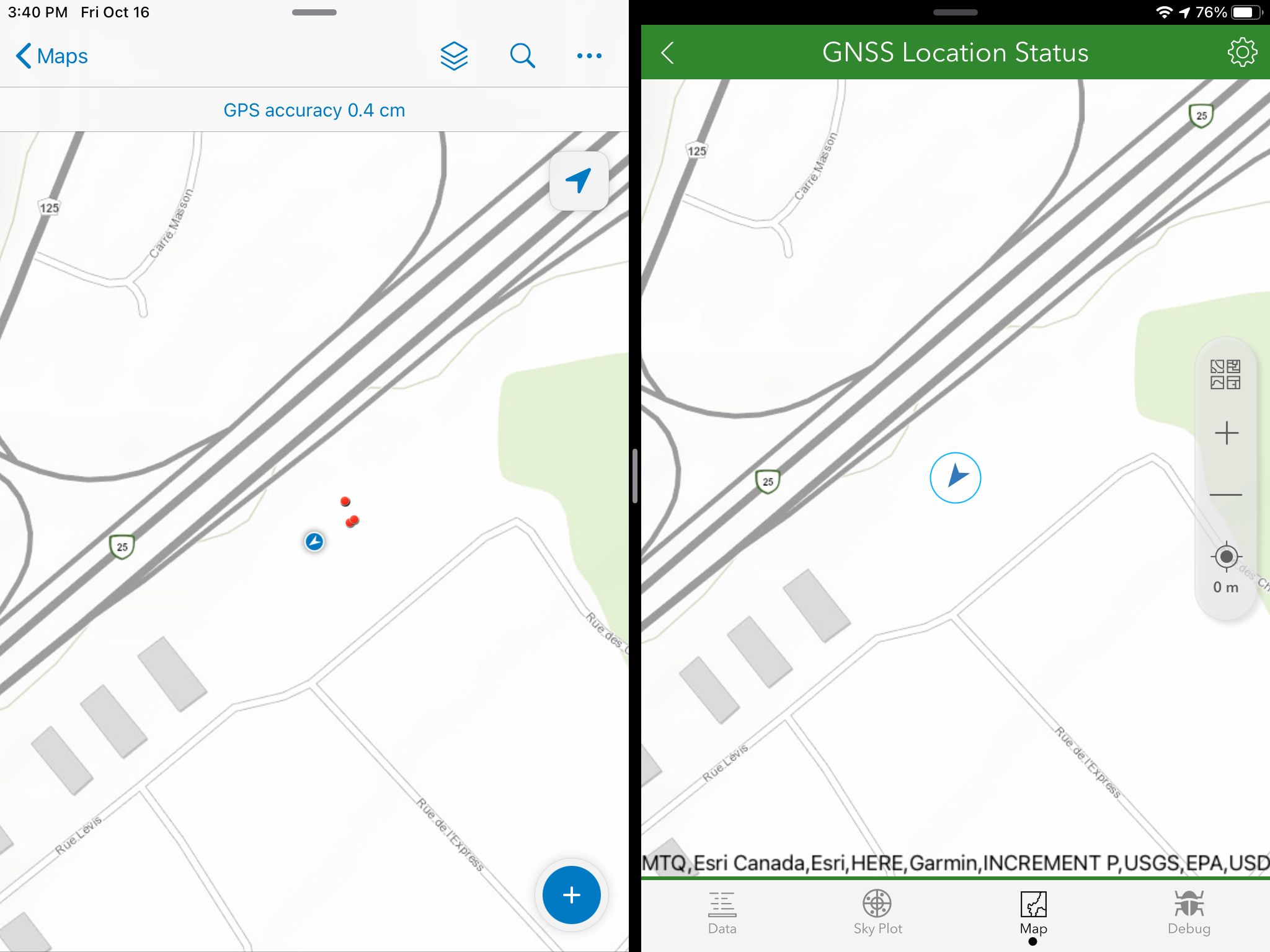Simultaneous map view of ArcGIS Collector (L) and ArcGIS Survey123 (R)