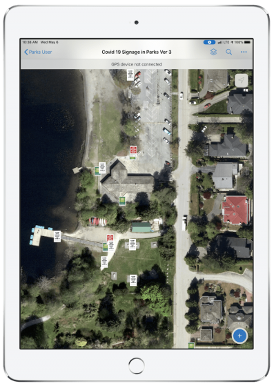 Due to the city's thick canopy, high-accuracy Arrow Gold GNSS receivers were used with ArcGIS Collector on iPads.