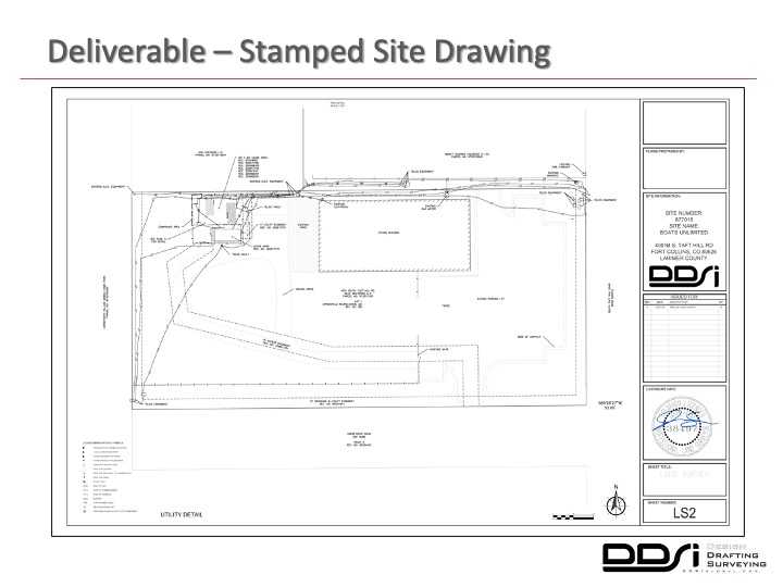 Deliverable stamped site drawing - DDSI laser mapping