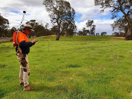 Dr. Shaun Canning heads to the field for data collection with the Eos Arrow 100 GNSS receiver, ArcGIS Collector, and an iPad. They make strong use of Collector's robust attribute capabilities and photos, and the Arrow 100's submeter accuracy.