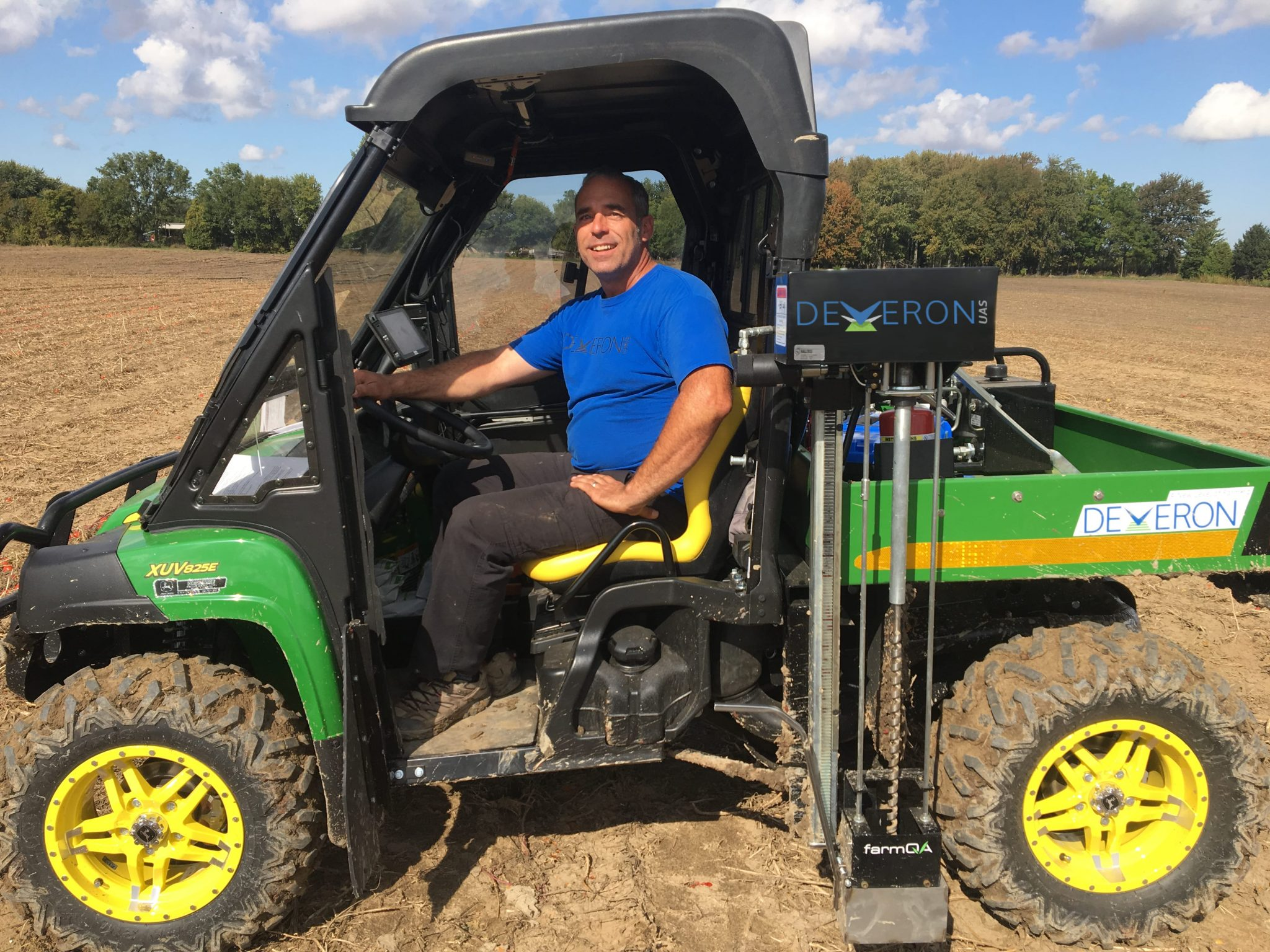 Steve Laevens prepares to go out in the field for soil sampling with the ATV setup.