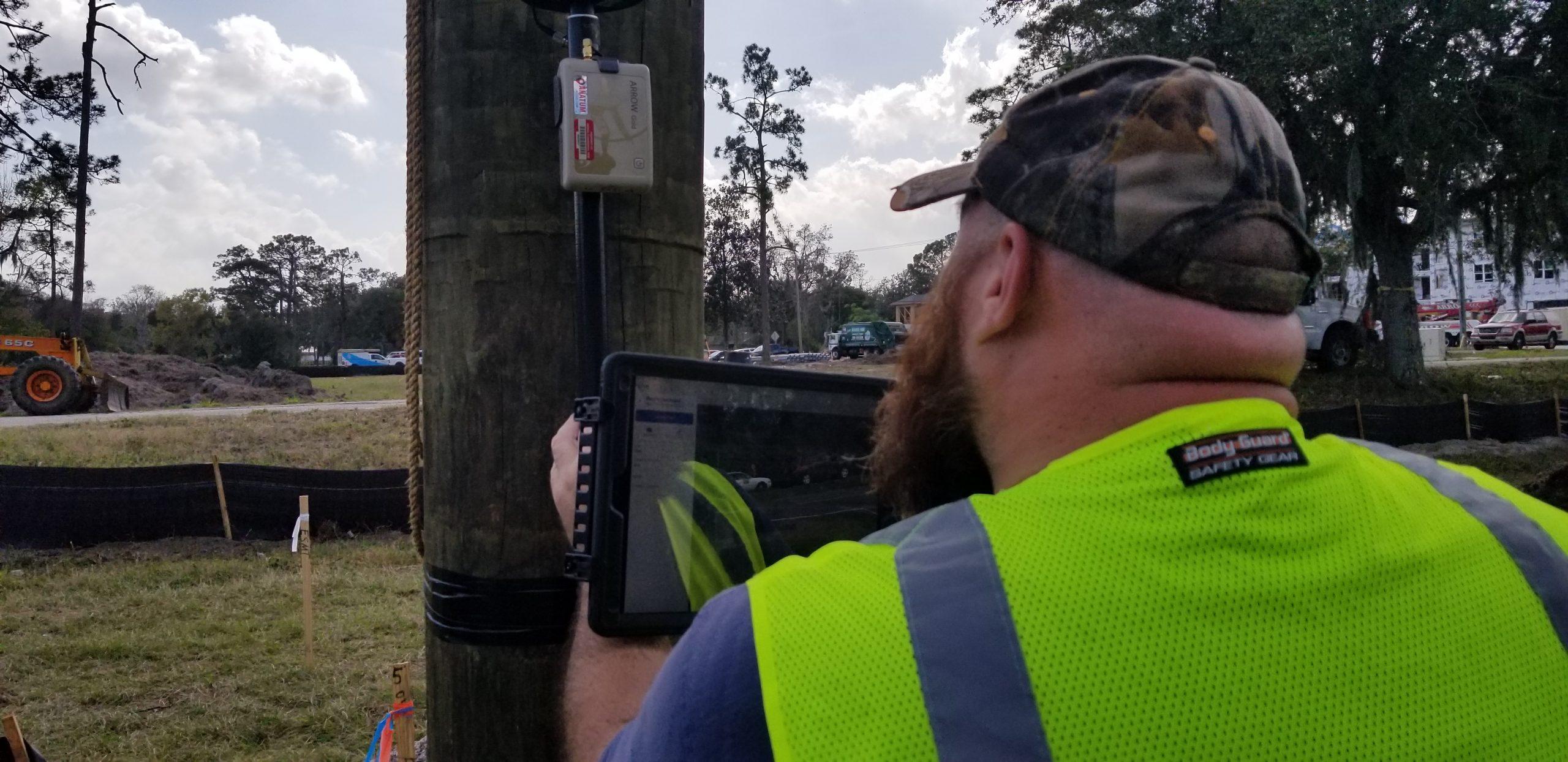 GPS Pole Capture Close Up New Smyrna Beach Utilities Commission Florida