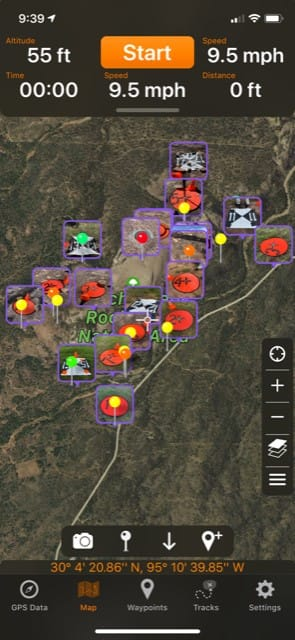 SCREENSHOT - CASE STUDY - RAPTOR AERIAL SERVICES - GPS Tracks-1; Texas Drone Consultancy Uses Arrow Gold for Ground Control Points (GCP)