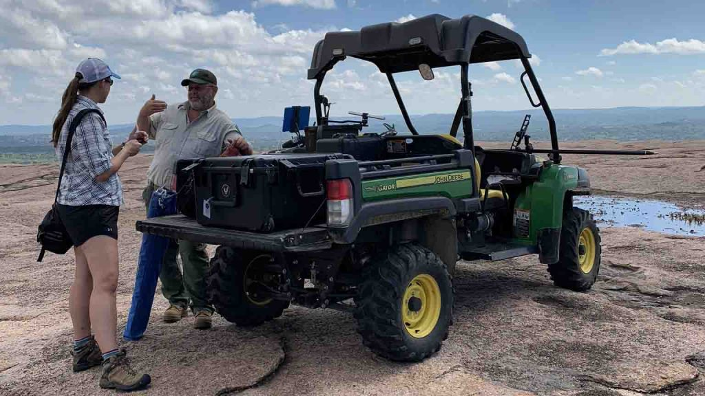 Texas Drone Consultancy Uses Arrow Gold for Ground Control Points (GCP); FIELD PHOTO - CASE STUDY - EOS TOOLS PRO - RAPTOR AERIAL SERVICES - ENCHANTED ROCK STATE NATURAL Area; Park rangers ATV setting GCPs