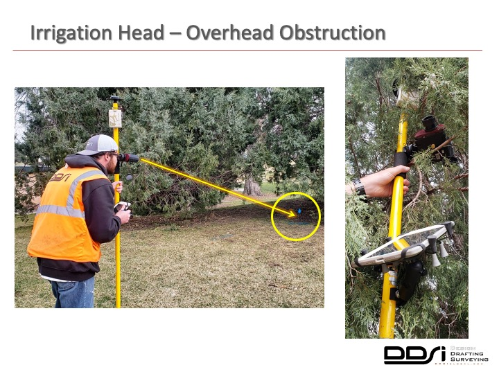 Irrigation head overhead obstruction - DDSI laser mapping
