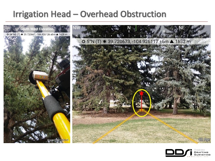Irrigation head overhead obstruction dense canopy - DDSI laser mapping