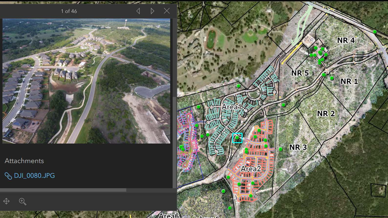 Shown here is a selected point with the UAV imagery captured by the drone at that position.