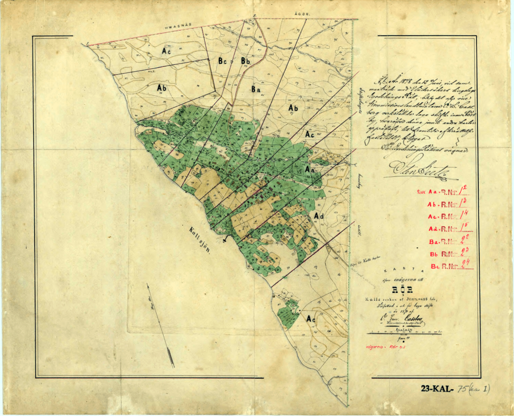 """This particular map from 1878 is from """"Laga skifte,"""" the name of the campaign when this land was legally split into parcels in 1878. (It is also Bergstedt's home village.) This type of map is used for digitizing, if it is necessary to mark a corner that is not found in the woods."""