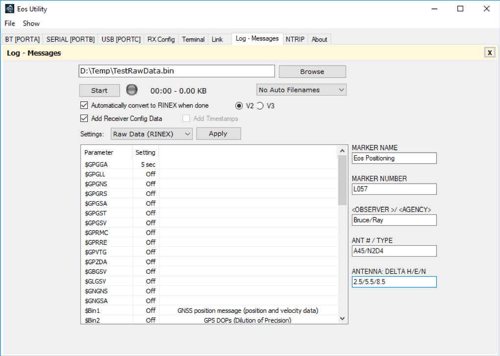 How to Log Raw Location Data and Convert to RINEX by Using an Arrow Receiver and Eos Utility v4.0.0 on Windows PC