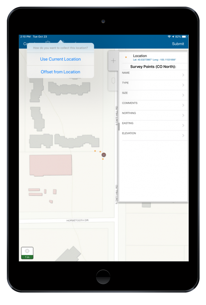 SCREENSHOT-SUCCESS-STORY-DDSI-LASER-MAPPING-iPad-laser-offset-data-collectionn-in-Collector-with-Arrow-for-undergrounnd-utility-locates-at-a-telecommunnications-site-327268_Screenshots-Ipad2_112718.png