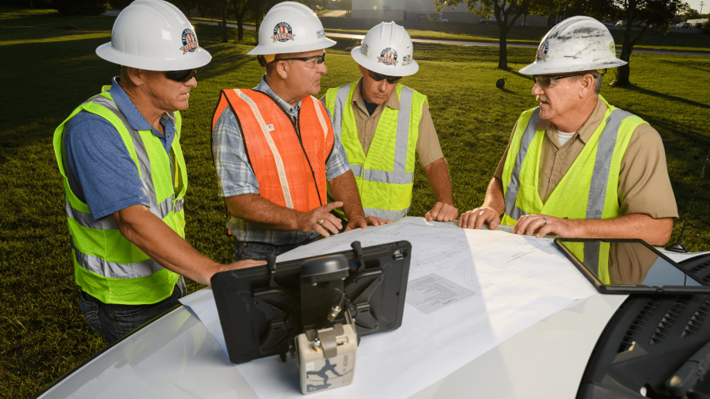 Arrow Gold for Field Staking: TCEC Improves Customer Service with Real-Time ArcGIS Access via Futura GIS; Eos Positioning Systems case study - TRI COUNTY ELECTRIC COOPERATIVE TCEC in TEXAS uses Eos Arrow Gold and Arrow 200 for field staking of electric construction sites with Futura Systems' FieldPro staking app on iOS; shown here is part of the TCEC team performing field staking