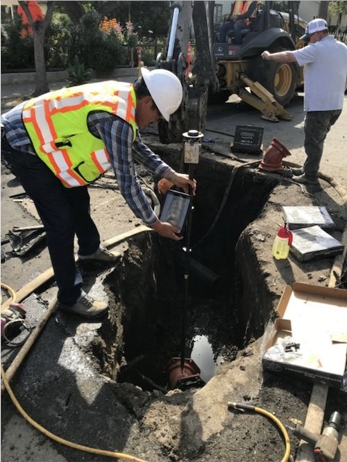 Santa Barbara field workers use the Eos Arrow Gold with Esri Collector to map a water main.