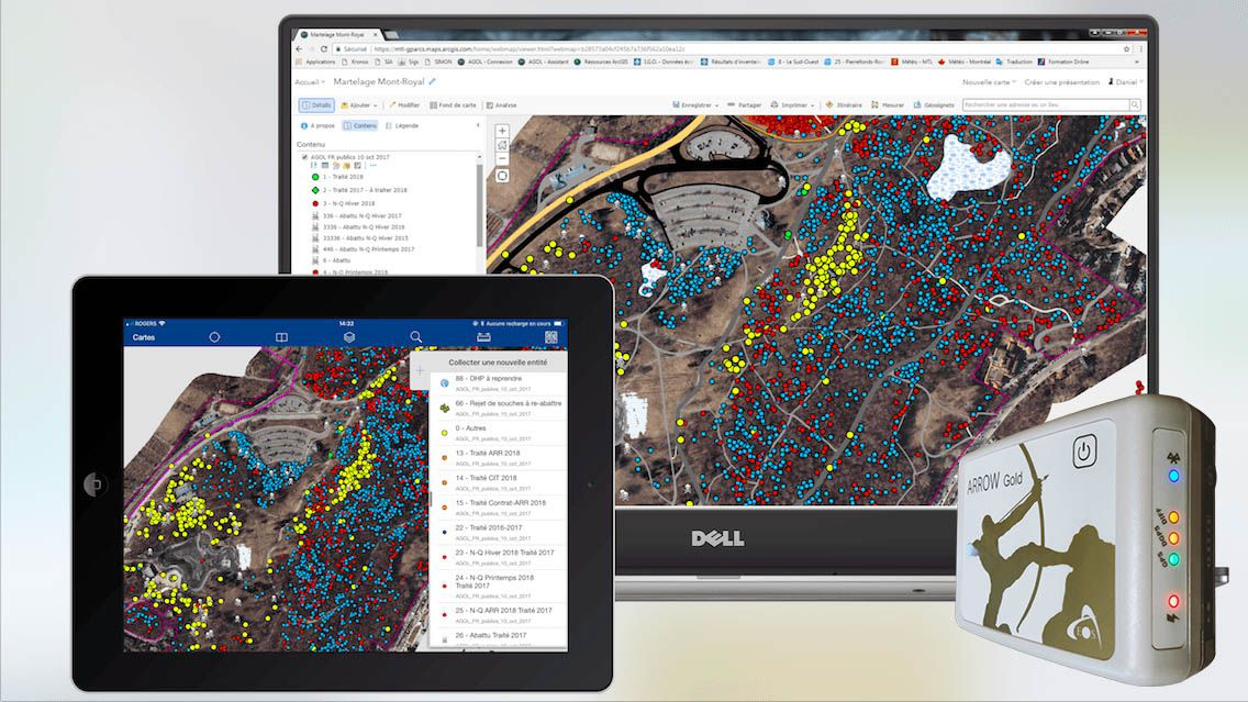 Esri ArcGIS Collector, ArcGIS Online, AGOL screenshots with high accuracy from Eos Positioning Systems Arrow 100 GNSS Receiver