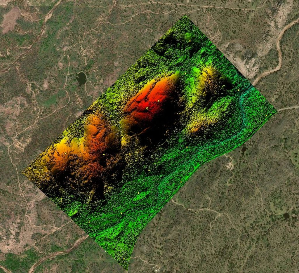 SCREENSHOT - CASE STUDY - RAPTOR AERIAL SERVICES - digital surface elevation model of 750; Texas Drone Consultancy Uses Arrow Gold for Ground Control Points (GCP)