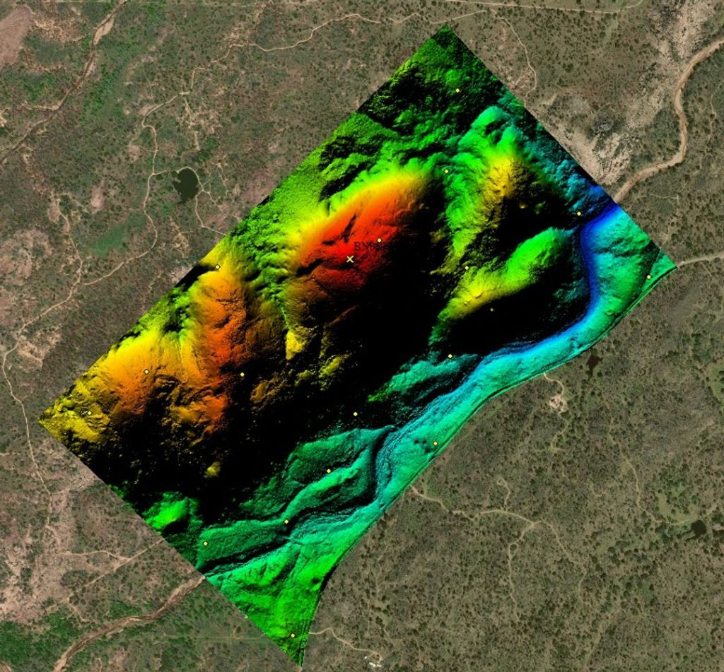 SCREENSHOT - CASE STUDY - RAPTOR AERIAL SERVICES - digital terrain model of 750; Texas Drone Consultancy Uses Arrow Gold for Ground Control Points (GCP)