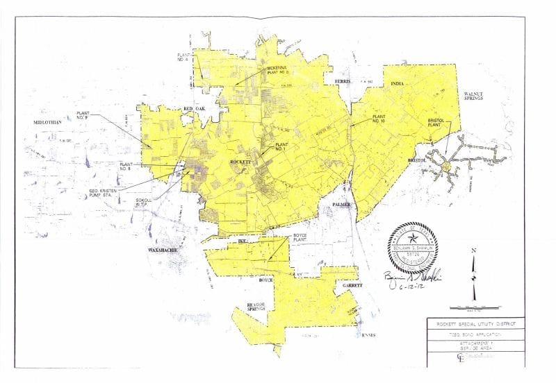 Rockett SUD service area map