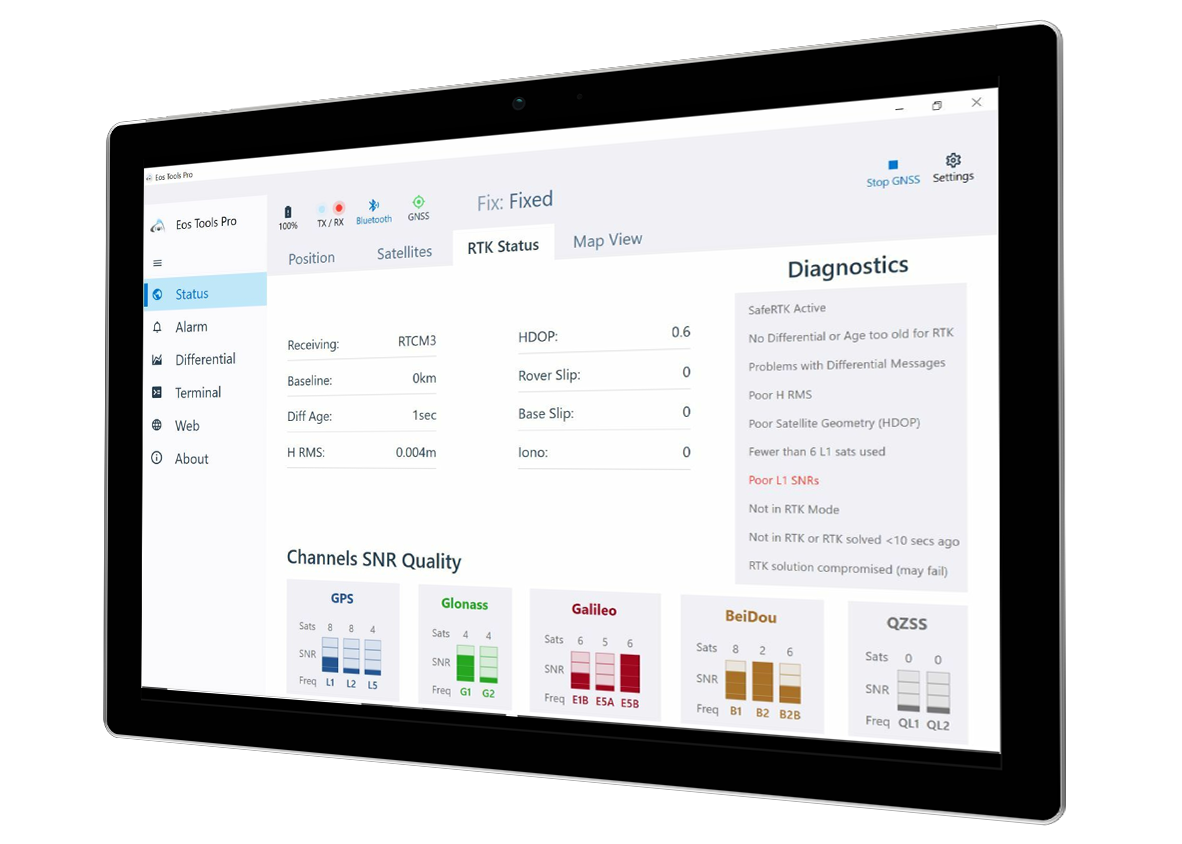 Eos Tools Pro screenshot: RTK Status tab on Microsoft Surface Pro