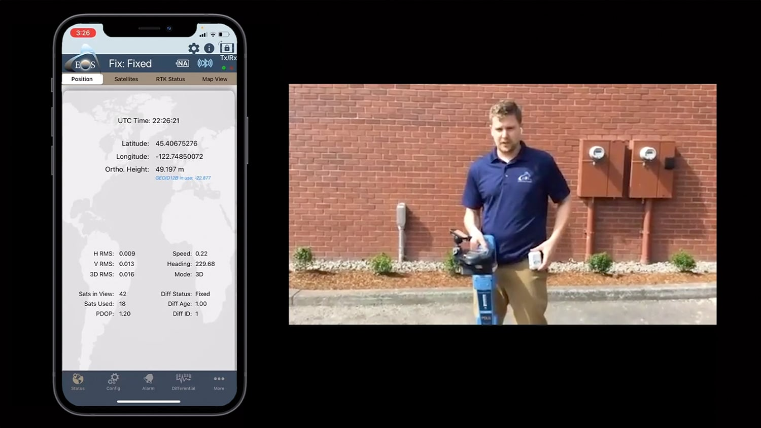 Eos Bridge: Demonstration of the Eos Locate solution using the Eos Bridge with an RD8100 locator, Arrow Gold GNSS receiver, and Esri's ArcGIS Field Maps mobile app