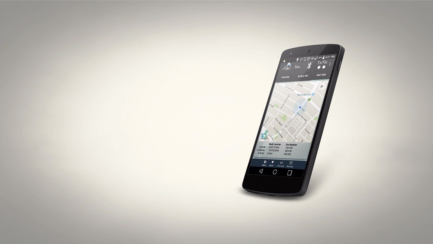Smartphone tablet bluetooth GNSS receiver, location, mock location, Eos Tools Pro, survey mount, GPS
