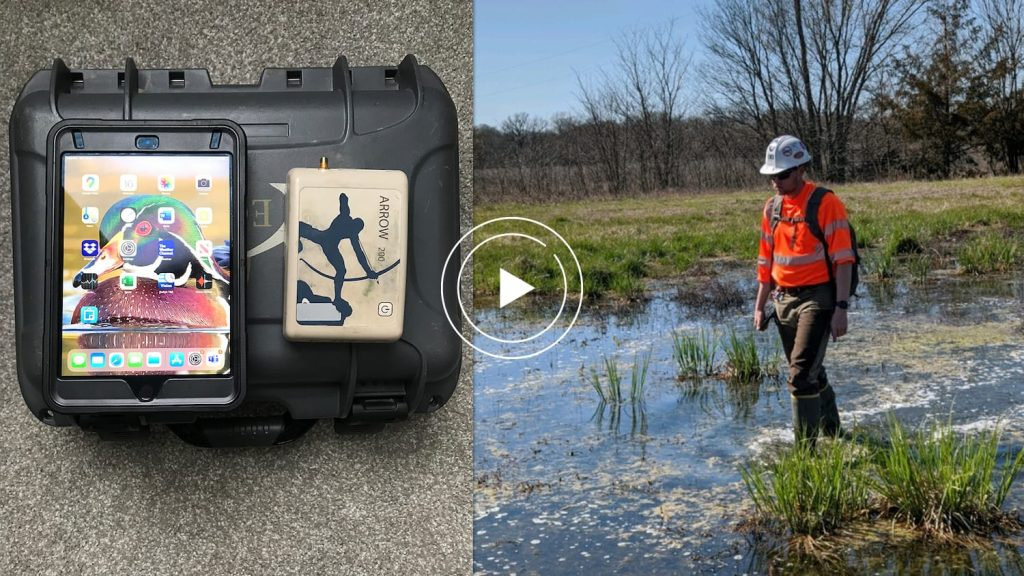 ESI video case study feature image with Arrow 200 GNSS receiver, iOS, and Ecobot app for wetlands delineations mapping projects