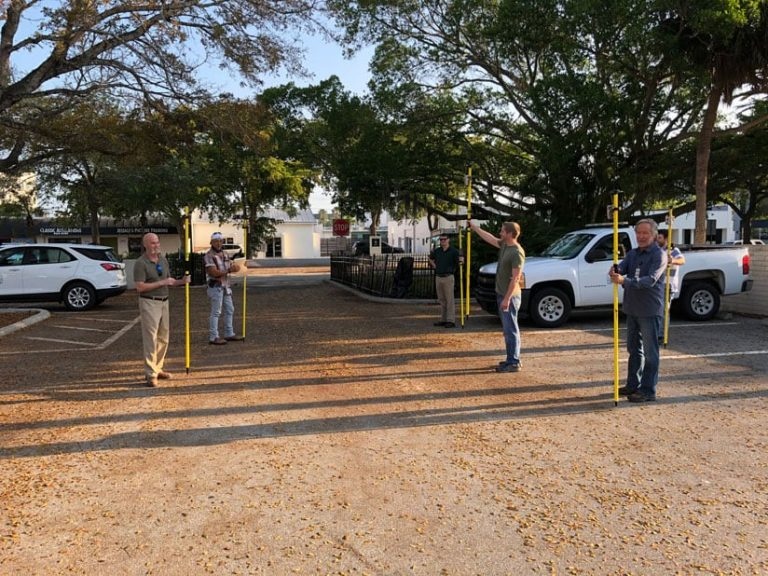 City of Sarasota staff training with Arrow 100 GNSS GPS receivers and ArcGIS Collector during pandemic COVID-19 while social distancing fieldwork