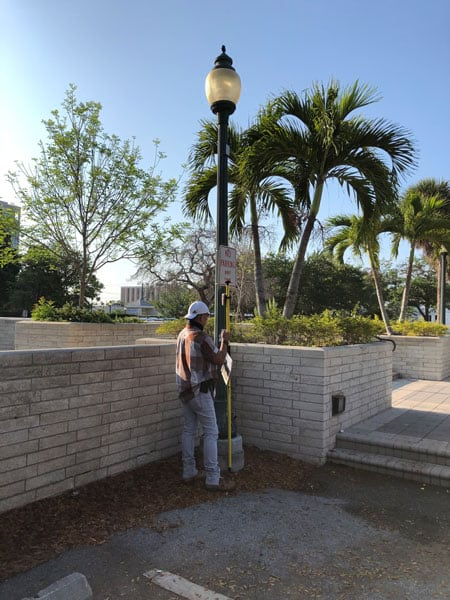 City of Sarasota staff collect street light with Arrow 100 GNSS GPS receivers and ArcGIS Collector during pandemic COVID-19 while social distancing fieldwork
