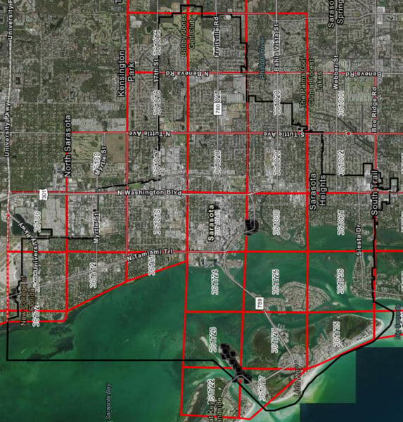 City of Sarasota screenshot: ArcGIS map showing points collected with ArcGIS Collector and Arrow 100 GNSS GPS receivers during COVID-19 pandemic