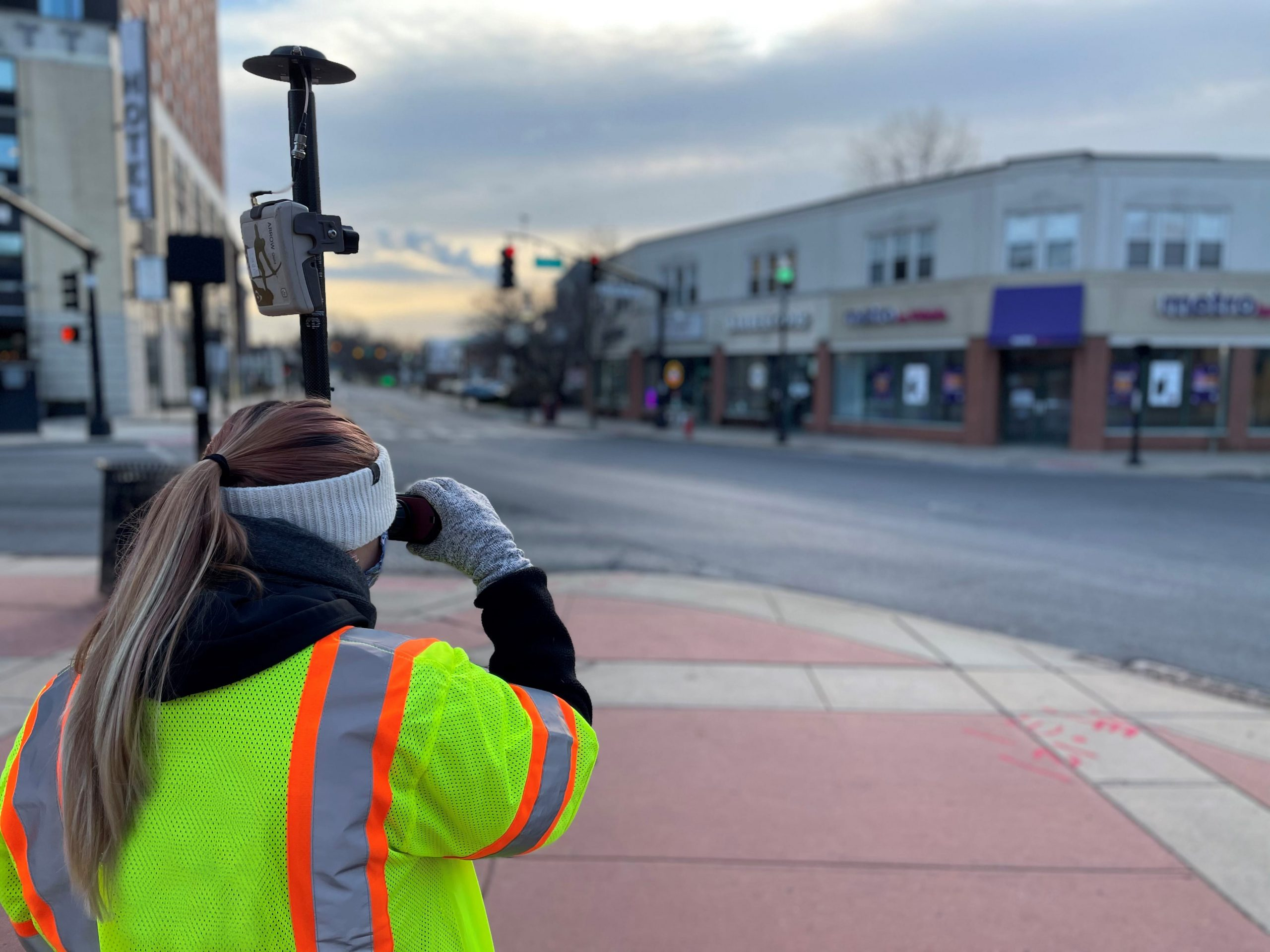 Amanda Paton uses Laser GIS mobile mapping with Esri ArcGIS, Eos Arrow Gold GNSS receiver, and LTI Laser Tech TruPulse 200X rangefinder in New Jersey for Colliers Engineering & Design