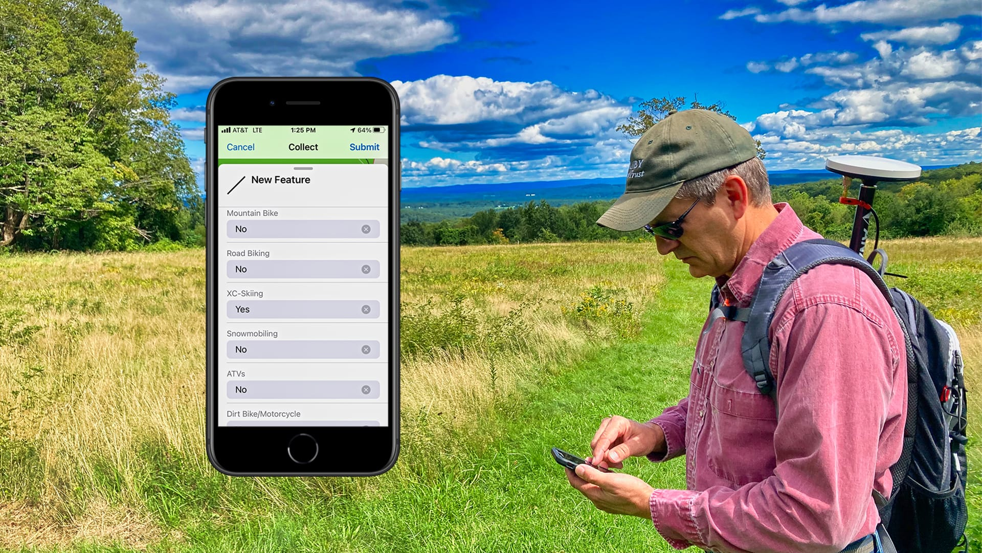 Steve Perry collects high accuracy GNSS GPS data in the field for a land trust conservatorory using Esri ArcGIS Field Maps, screenshot of Arrow GNSS in ArcGIS Field Maps
